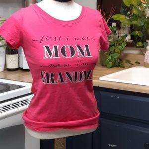 Womens Pink Tee Tshirt top Shirt MOM